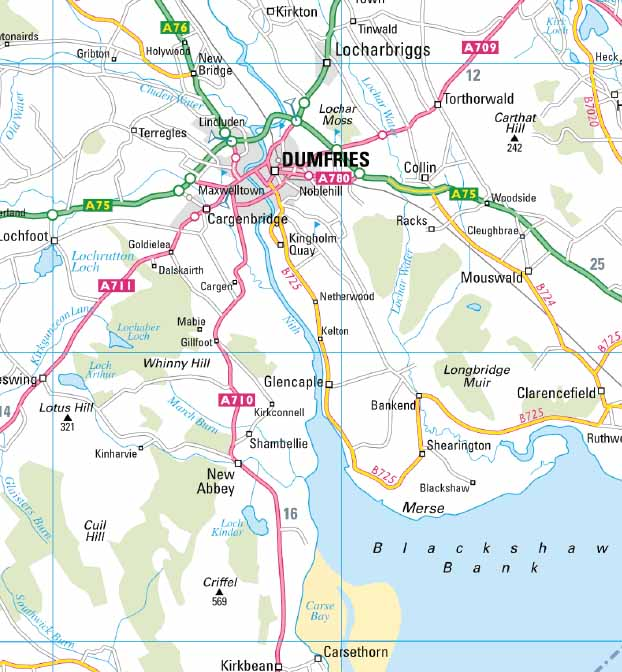 Map Of Dumfries Dumfries and Galloway Wall Map Map Of Dumfries